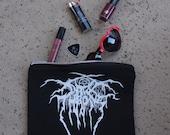 Dark Throne Hand Painted Black Canvas All Purpose Zipper Storage Pouch