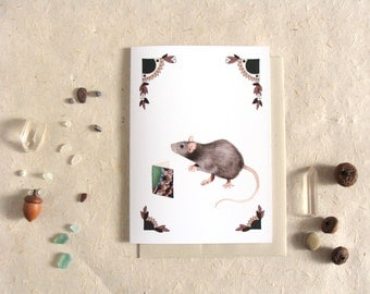 Critters and Cards: Rat // Blank Art Card // Forest Illustration