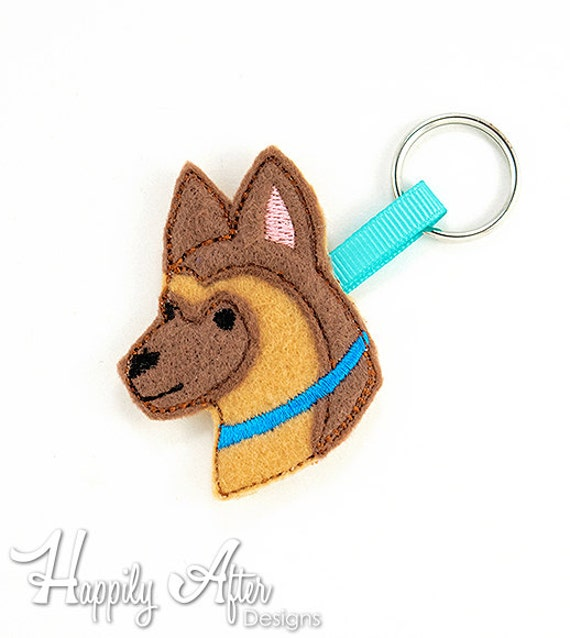 German shepherd keychain embroidery design dog