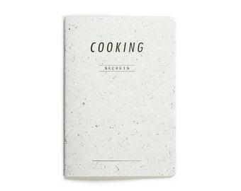 SALE -40% COOKING secrets - letterpress printed notebook - white soft blue color - vintage design - COOK5007W