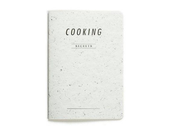COOKING secrets - letterpress printed notebook - white soft blue color - vintage design - COOK5007W