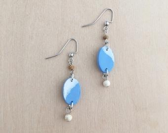 Little Cloud Dangle Earrings - Clay Earrings - Bohemian Jewelry