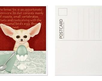 Illustrated Postcards, Art Postcard, Fennec Fox Illustration, Animal Postcard, Postcard Set