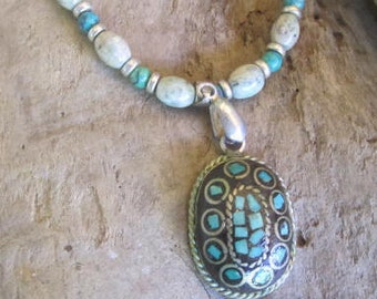 Turquoise and jade necklace, turquoise ethnic jewelry, from hawaii , seashell jewelry, tropical necklace, handmade necklace