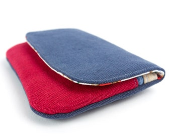 Padded Phone Case Wallet iPhone 6 Pouch Zip Pocket Red and Blue with Cath Kidston Cowboy Fabric