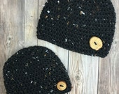 Boy Crochet Hat, Tweed Baby Hat, Tweed Beanie, Baby Boy Hat, Baby Photo Prop, Brown Tweed, Black Tweed, Cream Tweed Hat