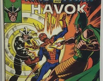 Comic Book Spiderman and Havok 1978  Marvel team up McFarlane Boarded