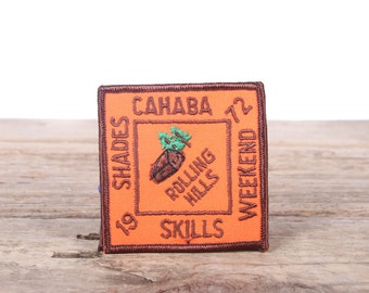 """Scout Patch / 1972 Shades Cahaba Skills Weekend / 3"""" Girl Scouts Patch / Vintage Patches / Grunge Patches /Punk Patches Orange Outdoor Patch"""