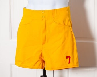 Vintage 80s Yellow Athletic Gym Coach Shorts - number 7