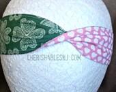 4 Leaf Clover Headband - Valentine Hearts Reversible Headband - Elastic Band - Holiday - Teacher Gift - Pink Hearts - OOAK - Ready to Ship