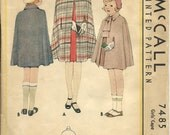 1930s Vintage McCall Pattern 7485 Girls Cape Size 4 complete