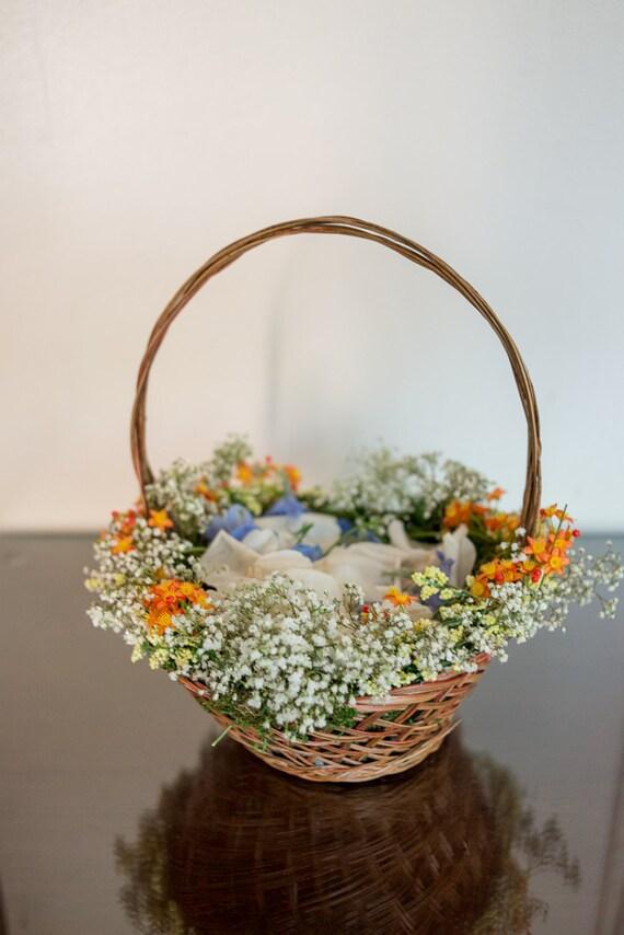 Flower girl baskets orange : Flower girl basket rustic natural orange