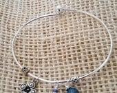 Silver Bangle Bracelet with Heart Stone, Swirl  Charm and Deep Blue  Gemstone