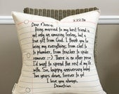 """18"""" Your Love Letter Pillow - Write Your Own Message - Notebook Paper Pillow - Cotton Canvas - Loop and Toggle Closure - 2nd Anniversary"""