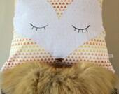 Sleeping Fox Orange Triangles Pillow Cover - Fox Cushion Cover