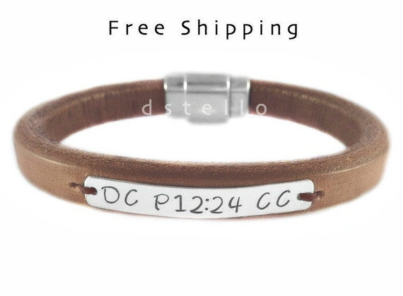 Engraved Mens bracelet - Thick Leather - Sterling Silver Tag - Silver color Magnetic clasp - Gift - Birthday - Anniversary - Friends - 26A-I