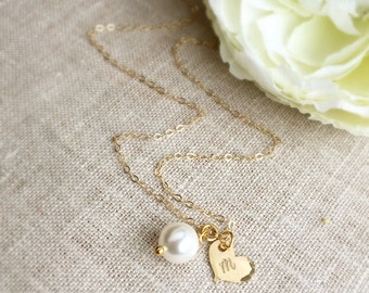 Gold Initial Heart . Bridesmaid Necklace . Bridesmaid Jewelry . Personalized Bridesmaid . Personalized Jewelry . Engraved Necklace . Custom