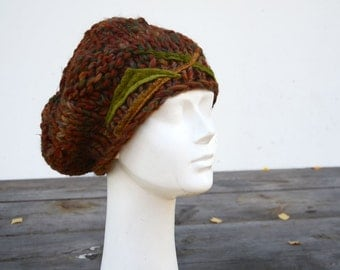 wool beret warm brown hand knit hat with green stripes felt decoration, fashion design woman, winter warm hat, beanie, geometric