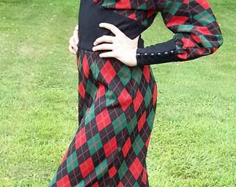 Vintage 1960s Ladies Red & Green Tartan Plaid Bell Bottom Jumpsuit OOAK Medium Only 35 USD
