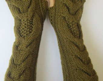PDF Pattern for hand knitted on double pointed needles long arm warmers with owls