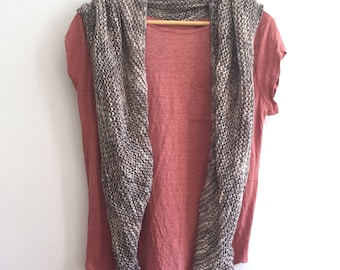 Hand Knit Wrap, Grey on Taupe