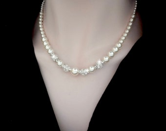 Pearl necklace ~ Swarovski pearl necklace ~ Swarovski crystals ~ Brides necklace ~ Wedding jewelry ~ Sparkling Elegance ~ FROSTED