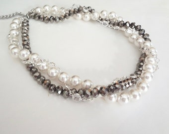 Twisted pearl necklace ~ Statement necklace ~ LUX ~ Brides necklace ~ Swarovski pearls and crystals ~ Black and white ~ FABULOUS ~ ALEXIS