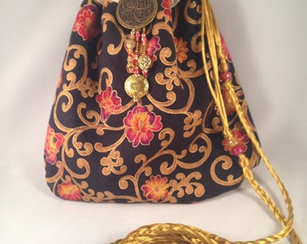 Black Gold Red Small Purse Evening Drawstring Bag