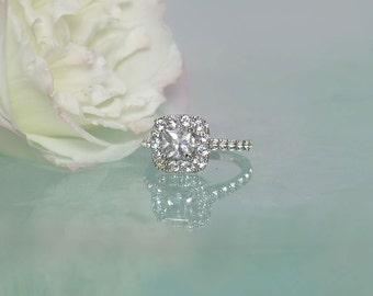 White Sapphire Gold Ring,  White Sapphire Ring, Sapphire Engagement Ring, Diamond Alternative Engagement Ring, Conflict Free Engagement Ring