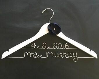 Wedding Dress Hanger,  Wedding Hanger with Date, Personalized Hanger, Navy Wedding, Wire Hanger Wedding, Gift for Bride, Mrs Hanger