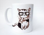 Nerd Cat Mug - Handmade Illustration, Ceramic Tea Mug, Coffe Cup, Unique Drawing, Independant Artist, Cat Lover Gift