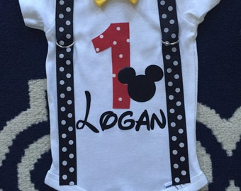 Mickey inspired First Birthday Onesie with Suspenders and Bow tie Personalized