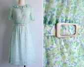 Vintage 80's Green Ruffled Bow Collar Floral Print Day Dress M or L