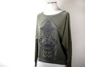 Bold Amulet Design on Women's Olive Green / Pullover /  Raglan Sleeve Top