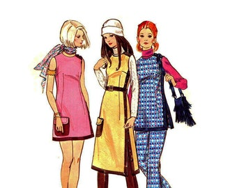 1970s Mod Mini Dress Pattern Side Button Sleeveless A Line Dress Jumper and Pants Big Pocket Bust 38 Butterick 5843 Vintage Sewing Pattern