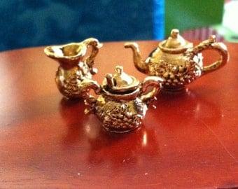 Tea Service, 18k Gold plated Metal Pieces, Miniature Tea Service
