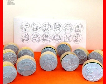 12 zodiacs Rubber Stamps - Horoscope Signs - Constellations - Complete Set of 12 - PMC, Ceramic Clay Art, Jewelry Making - Etchythings