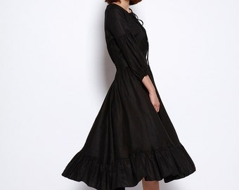 New Linen Dress Sundress Summer Dress in Black - NC698