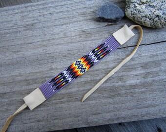 Purple Seed Beaded Bracelet, Loom Beaded Bracelet with Deerskin Leather Ties