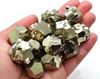 1 Large EQ PYRITE Nugget Stone Cube Chunk Crystal Healing Peru Fools Gold Raw Pyrite Nugget Jewelry & Crafts #FL2