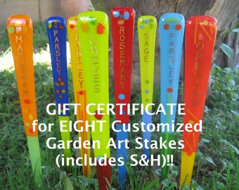 GIFT CERTIFICATE for Set of EIGHT Customized Garden Art Stakes