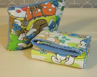 Plush fleece Toddler Quilt Blanket - Smurfs Vintage Sheet Travel Pillow Cover and Blanket Nap Time Set