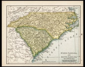 Small North Carolina Map South Carolina Map (Antique State Decor, Early 1900s Rand McNally Map) No. 33-2