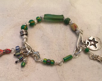 Bracelet - African Trade Bead Braclete - Sterling Silver - Fine Silver Charm - Leather - Tassels - Artisan Jewelry Sundance Style