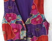 Colorful Flower Vest ~ Vintage Purple & Multi Color ~ Bohemian Style ~ Metallic trim ~ Rayon / Made in India ~ Button front