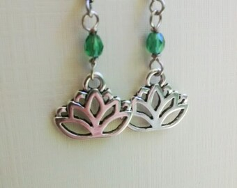 Antique Silver Lotus Earrings - Surgical Steel Wires