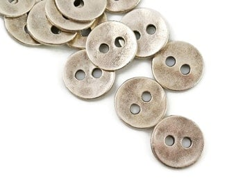 12mm Button Round - Antique Silver - Small Round Silver Metal Button