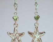 Sterling Silver & Peridot Starfish Earrings