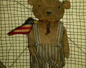 Ready to Ship ~ Primitive Bear ~ Prim standing bear ~ Prim Flag Bird ~ Patriotic ~ Independence Day