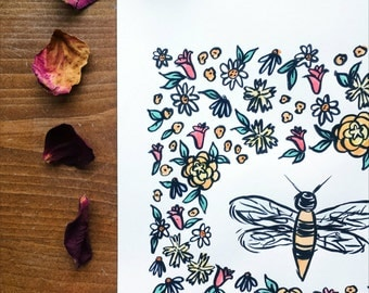 Woodland Insects Honey Bee Watercolor Illustration